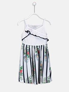 Kız Çocuk Desenli Pamuklu Elbise