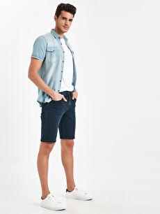 Skinny Fit Bermuda Jean Şort
