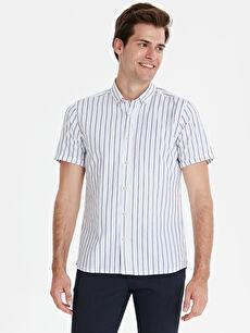 Slim Fit Çizgili Kısa Kollu Poplin Gömlek