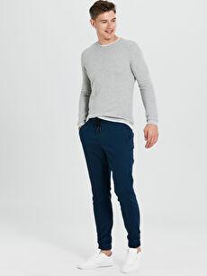 Lacivert Slim Fit Gabardin Bilek Boy Pantolon 9SA029Z8 LC Waikiki