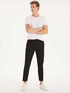 Siyah Slim Fit Poliviskon Bilek Boy Pantolon 9SA493Z8 LC Waikiki