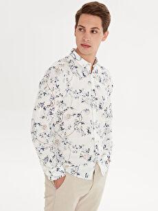 Beyaz Slim Fit Desenli Uzun Kollu Poplin Gömlek 9SC727Z8 LC Waikiki