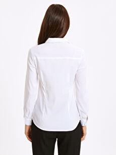 %65 Pamuk %31 Polyester %4 Elastan Gömlek Düz Poplin Gömlek
