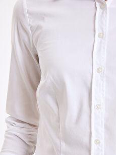 %65 Pamuk %31 Polyester %4 Elastan Düz Poplin Gömlek