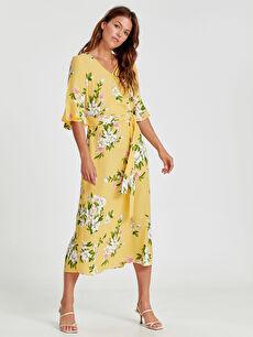 Sarı Kol Ucu Fırfırlı Desenli Gabardin Elbise 9S7154Z8 LC Waikiki