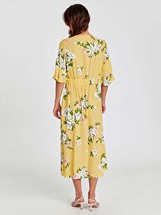 Kadın Kol Ucu Fırfırlı Desenli Gabardin Elbise