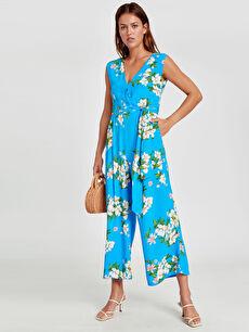 Mavi Geniş Paça Çiçek Desenli Poplin Tulum 9S7155Z8 LC Waikiki