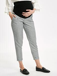 %48 Polyester %52 Viskon Kendinden Desenli Günlük Orta Kalınlık Pantolon Bilek Boy Armürlü Hamile Pantolon