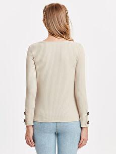 %96 Polyester %4 Elastan Tişört Günlük Kaşkorse Uzun Kol Düz Kol Ucu Düğmeli Esnek Hamile Tişört