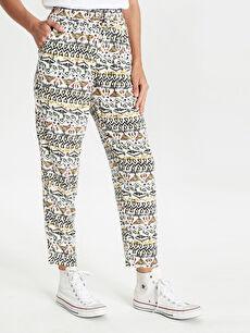 Kadın Beli Lastikli Desenli Viskon Pantolon