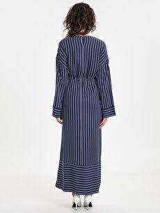 %100 Viskoz Elbise Gömlek Elbise Çizgili Ofis/Klasik Uzun Kol Beli Büzgülü Çizgili Uzun Viskon Elbise