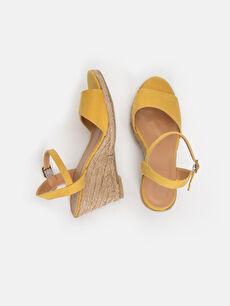 Tekstil malzemeleri Diğer malzeme (poliüretan) Topuklu Ayakkabı Kadın Hasır Dolgu Topuk Sandalet