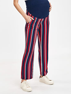%100 Viskoz Pantolon Çizgili Düz Paça Hamile Pantolon