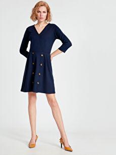 Kadın Kruvaze Yaka Düğme Detaylı Mini Elbise