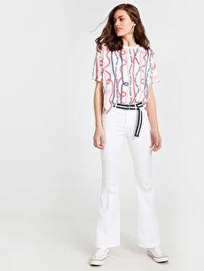 Beyaz Kemerli İspanyol Paça Pantolon 9SN399Z8 LC Waikiki