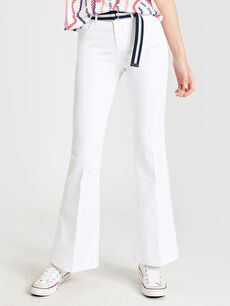 %70 Pamuk %27 Polyester %3 Elastan Normal Bel Standart Esnek Kemerli Pantolon İspanyol Paça Kemerli İspanyol Paça Pantolon