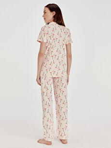 Kadın Desenli Pamuklu Hamile Pijama Takımı