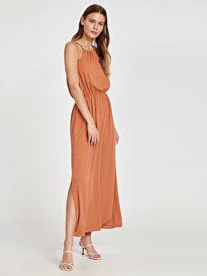 Turuncu Beli Lastikli Uzun Viskon Elbise 9SO768Z8 LC Waikiki