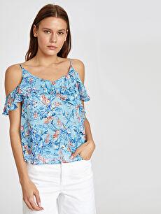 %100 Polyester %100 Viskoz  Omuzları Açık Fırfır Detaylı Şifon Bluz