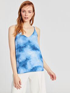 %100 Polyester Bluz Askılı Batik Bluz