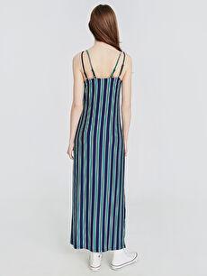 Kadın Çizgili Askılı Viskon Elbise