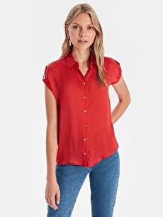Kırmızı Aplikeli Gömlek 9ST728Z8 LC Waikiki