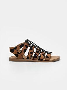 Kadın Leopar Desenli Sandalet