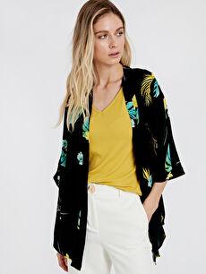 %100 Polyester Kimono Standart Desenli Kimono