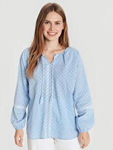 %100 Pamuk Patsız Bluz Uzun Kol Düz Bluzan Standart Puantiyeli Pamuklu Bluz