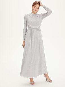 Gri Işıltılı Uzun Şifon Abiye Elbise 9SV489Z8 LC Waikiki