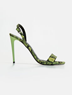 Yeşil Kadın Yılan Derisi Görünümlü Topuklu Ayakkabı 9SY624Z8 LC Waikiki