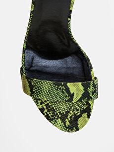 LC Waikiki Yeşil Kadın Yılan Derisi Görünümlü Topuklu Ayakkabı