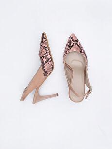 Diğer malzeme (poliüretan) Diğer malzeme (poliüretan)  Kadın Yılan Derisi Görünümlü Topuklu Ayakkabı