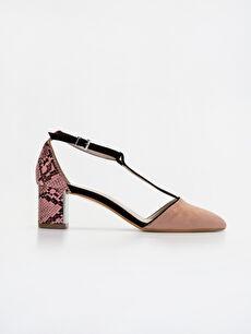 Pembe Kadın Yılan Derisi Görünümlü Stiletto Ayakkabı 9SY635Z8 LC Waikiki