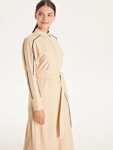 %15 Polyester %85 Viskon Kendi Kumaşından Kuşaklı Uzun Viskon Elbise