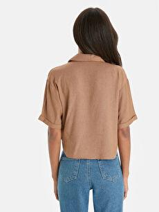 %80 Viskon %20 Keten  Beli Bağlama Detaylı Salaş Bluz