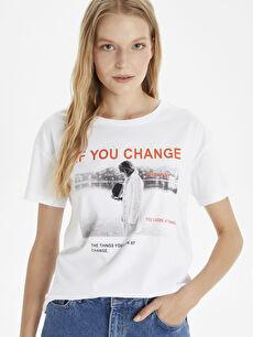 Beyaz Slogan Baskılı Pamuklu Tişört 9SC550Z8 LC Waikiki