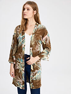 Desenli Viskon Kimono