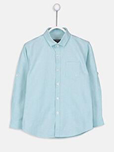 Yeşil Erkek Çocuk Uzun Kollu Oxford Gömlek 9S0388Z4 LC Waikiki