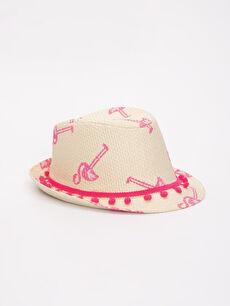 Kız Çocuk Desenli Hasır Şapka