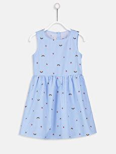Kız Çocuk Desenli Poplin Elbise