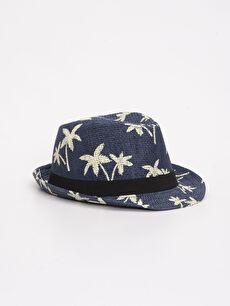 Lacivert Erkek Çocuk Desenli Hasır Şapka 9S4179Z4 LC Waikiki