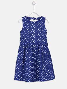 Kız Çocuk Sırtı Kalp Detaylı Puantiyeli Elbise