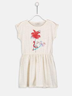 Bej Kız Çocuk Baskılı Örme Elbise 9S8407Z4 LC Waikiki