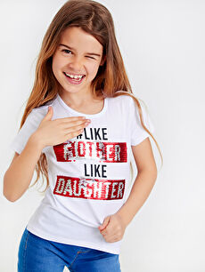 LC Waikiki Beyaz Aile Koleksiyonu Kız Çocuk Çift Yönlü Payetli Pamuklu Tişört