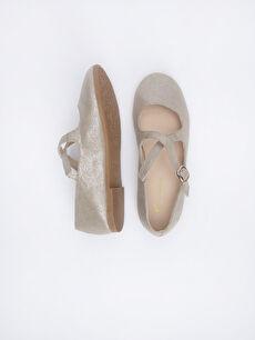 %0 Tekstil malzemeleri (%100 poliester)  Kız Çocuk Çapraz Bantlı Babet Ayakkabı