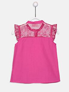 %100 Pamuk Standart Düz Kısa Kol Kız Çocuk Dantelli Poplin Gömlek