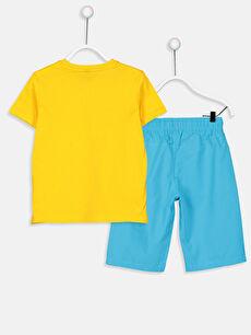 %100 Pamuk %100 Pamuk Aksesuarsız Standart Kısa Kol Düz Takım Gabardin Erkek Çocuk Pamuklu Tişört ve Şort