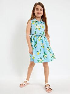 Kız Çocuk Çiçekli Elbise ve Kemer
