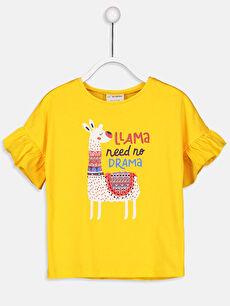 Sarı Kız Çocuk Kolları Fırfırlı Pamuklu Tişört 9SL309Z4 LC Waikiki